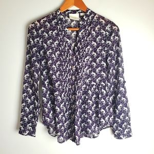 Anthropologie Maeve purple and white monkey top